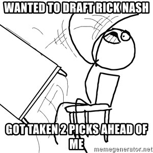 Desk Flip Rage Guy - wanted to draft rick nash got taken 2 picks ahead of me
