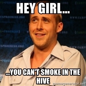 Typographer Ryan Gosling - HEY GIRL... ...you can't smoke in the hive