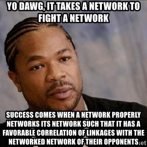 Xzibit WTF - Yo Dawg, It takes a network to fight a network Success comes when a network properly networks its network such that it Has a Favorable correlation of linkages with the networked network of their opponents