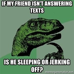 Philosoraptor - If my friend isn't answering texts is he sleeping or jerking off?