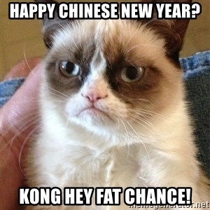 Grumpy Cat Face - Happy Chinese New Year? Kong Hey Fat Chance!