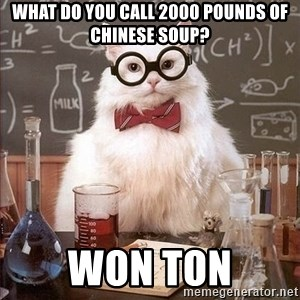 Chemistry Cat - What do you call 2000 pounds of Chinese soup? Won ton
