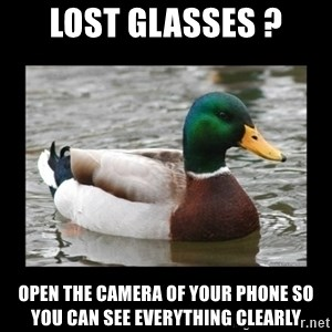 advice mallard - lost glasses ? OPEN THE CAMERA OF YOUR PHONE SO YOU CAN SEE EVERYTHING CLEARLY