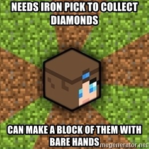 Minecraft Logic - Needs iron pick to collect diamonds can make a block of them with bare hands