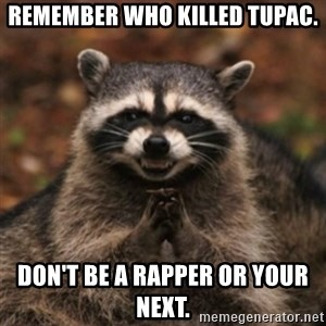 evil raccoon - remember who killed tupac. don't be a rapper or your next.