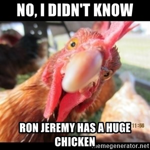 WTF Chicken - no, I didn't know Ron jeremy has a huge chicken