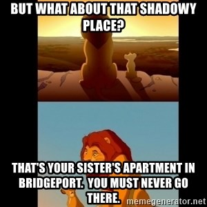 Lion King Shadowy Place - But what about that shadowy place? That's your sister's apartment in Bridgeport.  you must never go there.