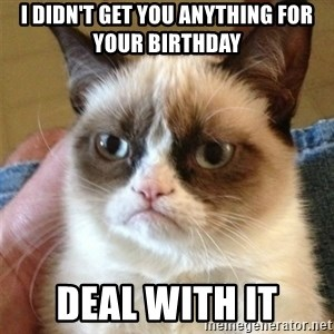 Grumpy Cat  - I didn't get you anything for your birthday Deal with it