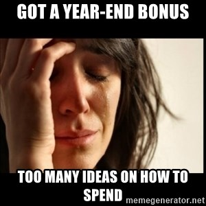 First World Problems - Got a year-end bonus too many ideas on how to spend