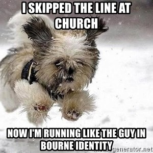 Cute Dog - I skipped the line at church now I'm running like the guy in Bourne Identity