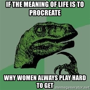 Philosoraptor - If the meaning of life is to procreate why women always play hard to get