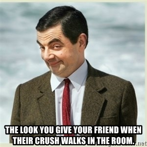 MR bean -  THE LOOK YOU GIVE YOUR FRIEND WHEN THEIR CRUSH WALKS IN THE ROOM.