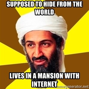 Osama - supposed to hide from the world lives in a mansion with internet