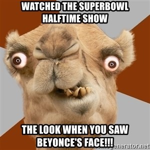 Crazy Camel lol - Watched the superbowl halftime show the look when you saw beyonce's face!!!