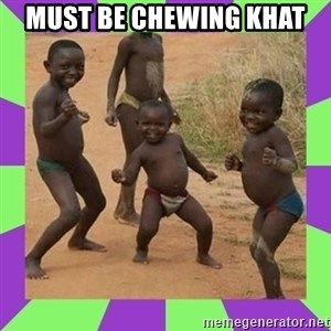 african kids dancing - must be chewing Khat