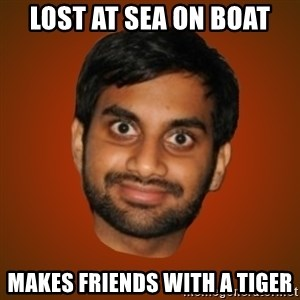 Generic Indian Guy - lost at sea on boat makes friends with a tiger