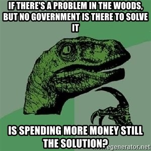 Philosoraptor - if there's a problem in the woods, but no government is there to solve it is spending more money still the solution?