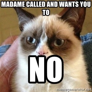 Grumpy Cat  - Madame called and wants you to no
