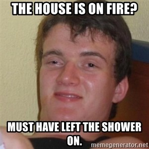 Stoner Stanley - The house is on fire? Must have left the shower on.