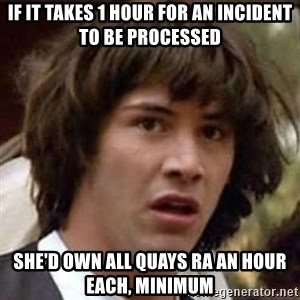 Conspiracy Keanu - if it takes 1 hour for an incident to be processed she'd own all quays ra an hour each, minimum