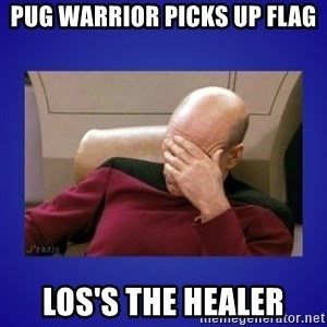 Picard facepalm  - PuG warrior picks up flag LoS's the healer