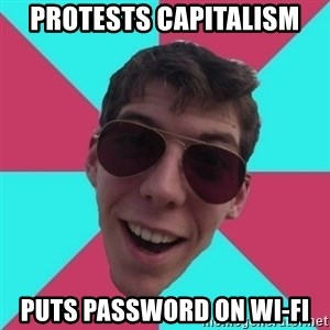 Hypocrite Gordon - protests capitalism puts password on wi-fi