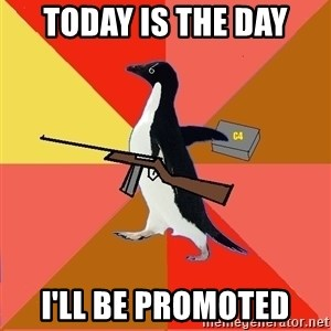 Socially Fed Up Penguin - TODAY IS THE DAY I'LL BE PROMOTED