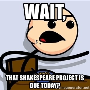 Kid Eating Cereal - wait, that shakespeare project is due today?