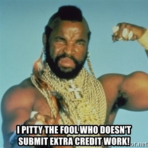 PITY THE FOOL -  I pitty the fool who doesn't submit extra credit work!