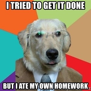 Business Dog - I tried TO Get IT Done But I ATE my OWN homework
