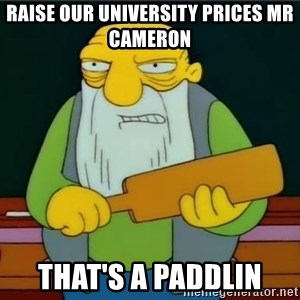 Thats a paddlin - Raise our university prices mr cameron That's a Paddlin