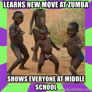 african kids dancing - Learns new move at zumba shows everyone at middle school