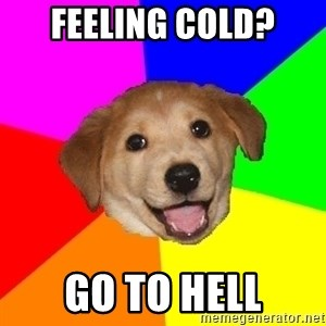 Advice Dog - feeling cold? go to hell