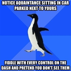 Socially Awkward Penguin - notice aquaintance sitting in car parked next to yours fiddle with every control on the dash and pretend you don't see them