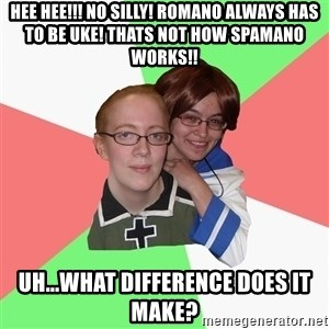 Hetalia Fans - Hee hee!!! No SILly! Romano always has to be uke! Thats not how sPamaNo works!! Uh...what difference does it make?