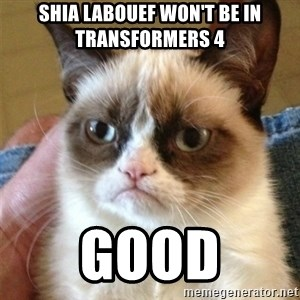 Grumpy Cat  - shia labouef won't be in transformers 4 good