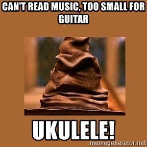Music Sorting Hat - Can't read music, too small for guitar ukulele!