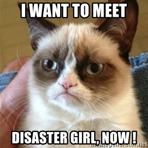 Grumpy Cat  - I want to meet  Disaster Girl, now !