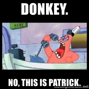 no this is patrick - dONKEY. NO, THIS IS PATRICK.