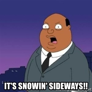 Ollie the Weatherman -  It's snowin' sideways!!