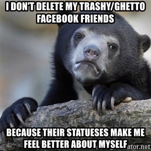 Confession Bear - I don't delete my trashy/ghetto facebook friends because their statueses make me feel better about myself