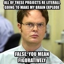 Dwight Shrute - All of these projects re literall going to make my brain explode False. you mean figuratively