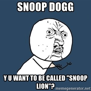 "Y U No - snoop dogg y u want to be called ""snoop lion""?"