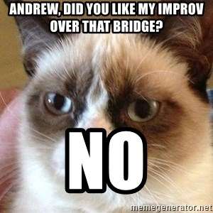 Angry Cat Meme - ANDREW, DID YOU LIKE MY IMPROV OVER THAT BRIDGE? NO