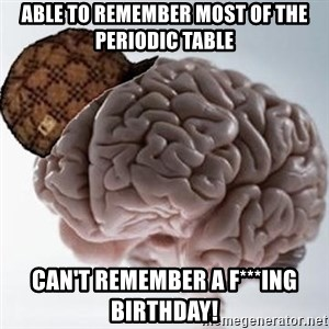 Scumbag Brain - able to remember most of the periodic table can't remember a f***ing birthday!