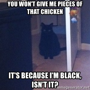 Soon - you won't give me pieces of that chicken it's because I'm black, isn't it?