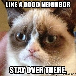 Angry Cat Meme - Like a good neighbor stay over there.