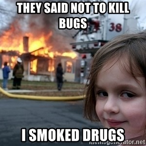 Disaster Girl - tHEY SAID NOT TO KILL BUGS I SMOKED DRUGS