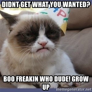 Birthday Grumpy Cat - didnt get what you wanted? boo freakin who dude! Grow up