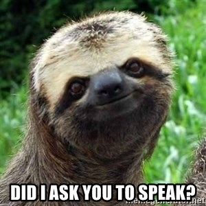 Sarcastic Sloth -  did i ask you to speak?
